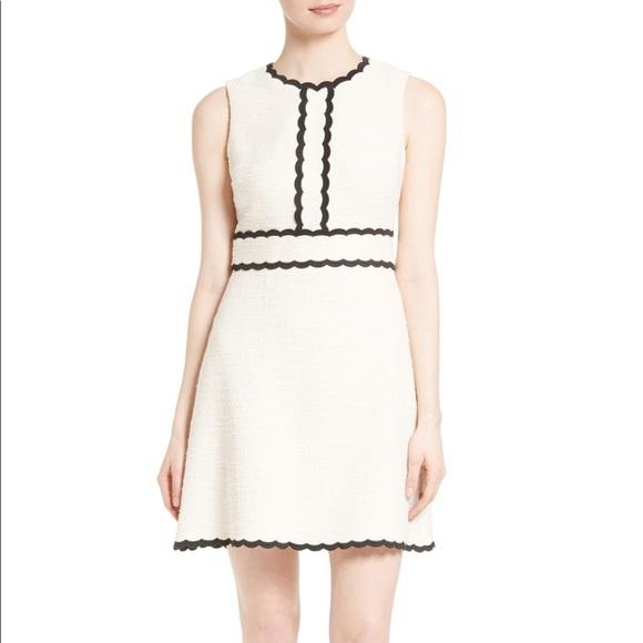 Kate Spade scalloped trim tweed dress